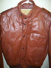 Vintage Chess King Mens Leather Bomber Coat Jacket S 40