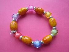 Kitsch Rainbow arancio toni Plastica Perline Bracciale Elasticizzato Nuovo