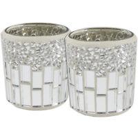 Set of 2 Silver and Chrome Mosaic Tealight Holders Tea Light Candle Holder Decor