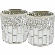 Set of 2 Silver and Chrome Mosaic Tealight Holders Tea Light Candle Holder Decor