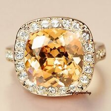 Rose Gold Plated Yellow Topaz Square Party Ring Made With Swarovski Crystal R178