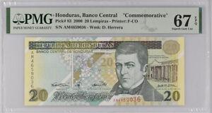 Honduras 20 Lempiras 2000 P 83 Superb GEM UNC PMG 67 EPQ Top Pop