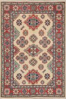 All-Over Oriental Super Kazak Area Rug Wool Hand-Knotted Geometric Carpet 4 x 6