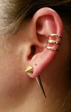 NEW Harley Quinn Gold Spike Earring with Large Spike & 3 Prong Gold Cuff