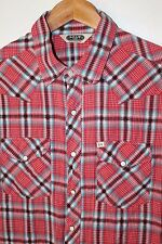 Men's SALT VALLEY Urban Outfitters Western Snap Button Shirt Red Plaid Sz M