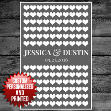 Personalized Guest Book Poster, Guestbook Alternative, Sign Wedding 120 hearts