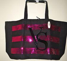 VICTORIA'S SECRET Large Beach Tote Pool Bag Black Canvas Pink Sequin VS Logo NWT