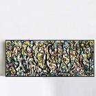 "Framed Giclee Print Art Abstract Mural by Jackson Pollock Wall Art Decor 20""x48"""