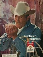 1974 Marlboro Cigarettes Smoking Cowboy Rope Vintage Color Photo Print Ad