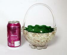 Murano Italy Hand Blown Glass Basket Green w/ Dichroic Sparkle & Applied Handle
