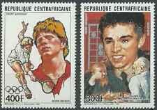 Timbres Personnages Sports JO Tennis Echecs Centrafrique PA369/70 ** lot 22801