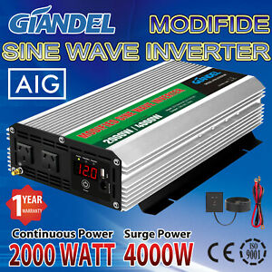 Large Shell Power Inverter 2000W/4000W 12V/240V US Transistors 100% FULL POWER