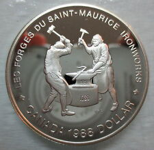 1988 CANADA SAINT MAURICE IRONWORKS PROOF SILVER DOLLAR HEAVY CAMEO COIN