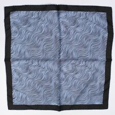 Manhattan Mens Silk Pocket Square Light Blue Black Wavy Lines Print Hand Rolled