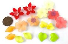 Old Stock Frosted Plastic Lucite Flower Leaves Beads Mix 20