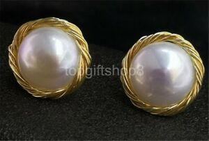white 16mm cultured freshwater pearl Earrings 14k filled gold
