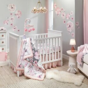 Lambs Ivy Signature Botanical 5 Piece Baby Nursery Crib Bedding Set w/ Mobile