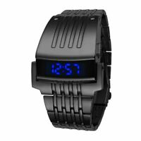 Design Electronic Digital Watch Stainless Steel Men Military Sports Fashion LED