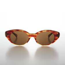 Wide Classic 1960s Style Glamorous Cat Eye Sunglass Tortoise/Brown Lens - Amy