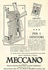 PUBBLICITA' 1926 MECCANO GIOCO COSTRUZIONI MULINO A VENTO PARODI GENOVA WINDMILL