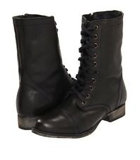 STEVE MADDEN TROOPA BLACK LEATHER ANKLE BOOT SIZE 7