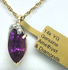 NATURAL 2.45 Cts AMETHYST & DIAMONDS PENDANT 14k Yellow Gold ** New With Tag **
