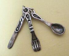 Older Sterling Knife Fork Spoon Charm Bracelet Pendant Moves Detailed  M2