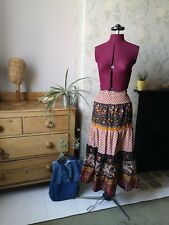 Vintage Skirt 4 6 small hippie clothing festival brown earthy maxi sundress uk