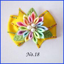 "50 BLESSING Girl 4.5"" Shine Wendy Hair Bow Clip Rhinestone Rainbow Flower LOL"