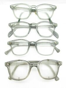 SET of 4 AMERICAN OPTICAL AO SAFETY HORN-RIMMED GLASSES gray plastic aos S646