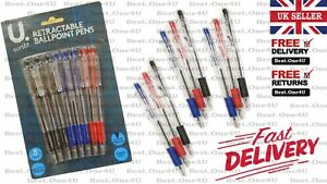 BALLPOINT BALL POINT RETRACTABLE PENS RED* BLUE*BLACK SCHOOL /OFFICE RUBBER GRIP