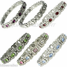 MAGNETIC BRACELET LADIES VINTAGE SILVER BIO ARTHRITIS PAIN RELIEF BANGLE MAGNETS