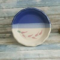 Hand crafted Stoneware pottery pie plate, unknown maker, blue stoneware pie dish