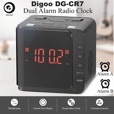 Digoo DG-CR7 Digital USB LED Large Display Dual Alarm Clock & AM/FM Radio Snooze
