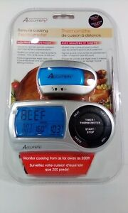 Accu-Temp Digital cooking thermometer BBQ With Timer & Remote Pager 200 Foot New