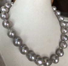 gorgeous 13-14mm south sea baroque silver grey pearl necklace 18inch 925s