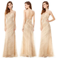 Ever-pretty Long Formal Prom Gown Evening Party Gold Bridesmaid Dresses 08929