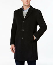 $698 TOMMY HILFIGER Men BLACK CASHMERE PEACOAT TOP-COAT OVERCOAT JACKET SIZE 36S