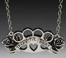 Gothic Goth Silver Treat Me Right with Roses Pendant+Necklace Jewelry-Brand New!