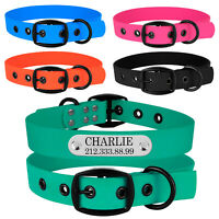 Personalised Dog Collar PVC Waterproof Pet Collar Engraved ID Name S M L Dogs