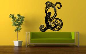 Wall Vinyl Sticker Decals Mural Room Design Art Mermaid Waves Sea Ocean bo683