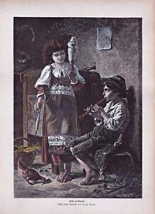 """Musik, musizierende Kinder - Flöte -  Stich 1890 """" Erste Lorbeeren"""" - Koloriert"""