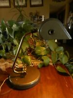 Vintage 1940's ? 50's Tanker Style Desk Lamp Retro Prop Brown Smaller Works