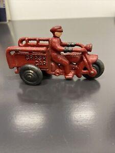 Vintage Cast Iron Crash Car Motorcycle Toy