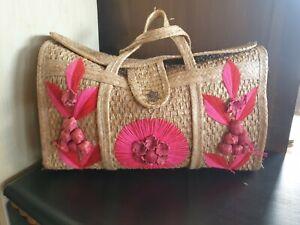 Vintage AcaPulco straw weave XL beach bag- handmade  !!  FREE UK PP