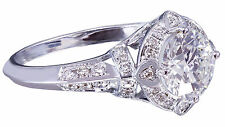 14k White Gold Round Cut Diamond Engagement Ring Bridal Wedding Art Deco 1.75ctw