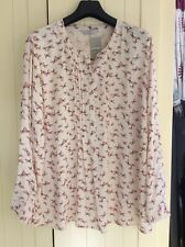 Ladies Long Sleeve Summer Blouse Top Cream Butterfly Print Size 22