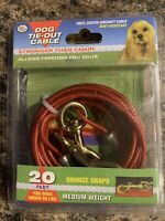 Four Paws Medium Weight Red Dog Tie Out Cable 20 feet