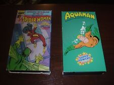 Spider-woman And The Fly  Aquaman lot of 2 VHS tapes  Rare Marvel DC  Videos!