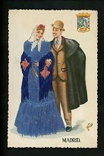 Embroidered clothing postcard Artist Elsi Gumier, Spain, Madrid man woman